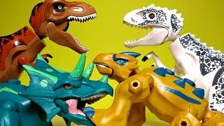getlinkyoutube.com-Hybrid Dinosaur Toys Lego Jurassic World Dinosaurs - Indominus Rex, Triceratops, T Rex
