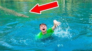 SWIMMING WITH POND MONSTER!! width=