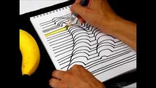 getlinkyoutube.com-誰でも簡単に描ける3D絵画【バナナ編】 How to Draw 3D Art (banana)