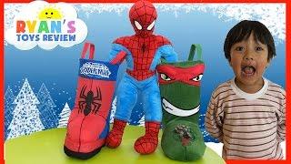 getlinkyoutube.com-SURPRISE TOYS in Christmas Stocking Spiderman Ninja Turtle Disney Cars Toys Kinder Egg