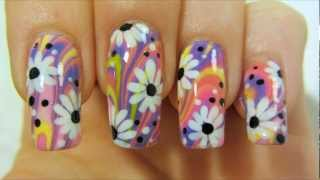 getlinkyoutube.com-Colorful Hippie Flower Power Design with Water Marbling and Daisies Nail Art Tutorial