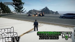 GTA IV LCPDFR Country Side Mountains - Day 9 - Policeman Sets Civilian Car on Fire