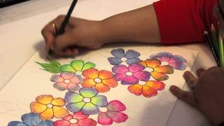 getlinkyoutube.com-Gradient Flowers - Color Pencil Tutorial