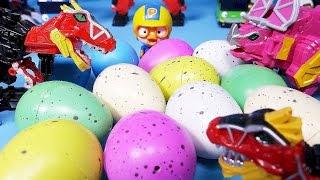 getlinkyoutube.com-Dinosaur eggs toys with Pororo and Kinder Joy Surprise eggs