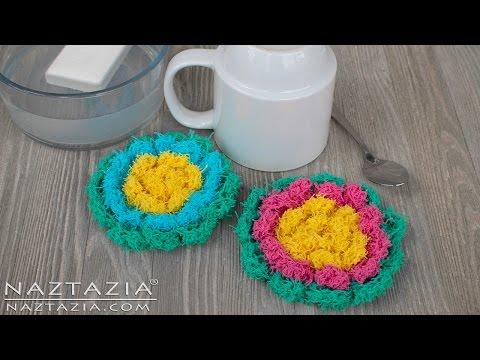 Crochet Blossom Scrubby - Flower Scrubbies for Kitchen or Bath - DIY Scrubbie Tutorial