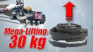 getlinkyoutube.com-RC helicopter weight lifting record 30kg/66 lbs - record heavy lifter
