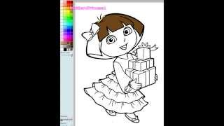getlinkyoutube.com-Dora Painting Games Dora Christmas Coloring Pages