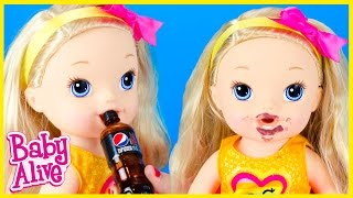 getlinkyoutube.com-BABY ALIVE DOLL DARCY DRINKS AND PEES, PEPSI SODA LIP BALM, DARCY'S DANCE CLASS TOY REVIEW FUN