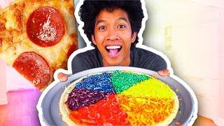 DIY HOW TO MAKE RAINBOW PIZZA!!!