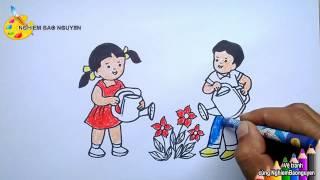 getlinkyoutube.com-Vẽ tranh Bé tưới cây/How to draw Baby watering plants