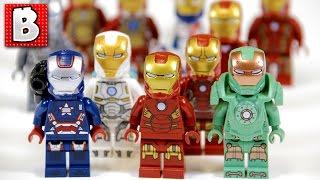 getlinkyoutube.com-Every Lego Iron Man Minifigure Ever!!! + Rare Iron Patriot and War Machine!   Lego Collection Review