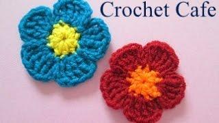 getlinkyoutube.com-كروشيه وردة بسيطة ب 2 لون | كروشيه كافيه | Crochet Cafe
