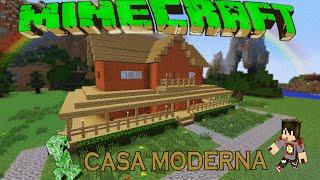 getlinkyoutube.com-Minecraft-Casa Moderna De Madera /Facil / Tutorial 1.9.2