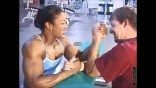 getlinkyoutube.com-Kim Perez armwrestles against a smaller man
