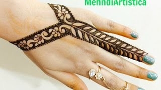 getlinkyoutube.com-Easy Beautiful Stylist Border Mehndi Designs For Hands:Latest Jewelry Mehendi By MehndiArtistica