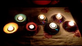 getlinkyoutube.com-How to make a Candle stand from Old Newspapers and CDs | BFW