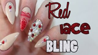 getlinkyoutube.com-HOW TO: Red Lace Acrylic Nails