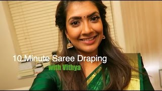 getlinkyoutube.com-10 minute Saree draping with Vithya