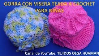 getlinkyoutube.com-Gorra con Visera para niñas tejida a crochet
