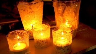 getlinkyoutube.com-Lace Candles - Wedding votive ideas