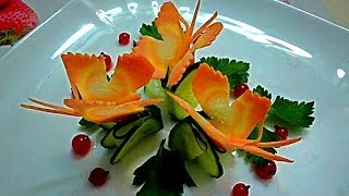 getlinkyoutube.com-Бабочки из моркови. Butterflies of carrots. Decoration of carrots. Decoration of vegetables