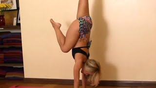 getlinkyoutube.com-Easy Kick up into Handstand, Beginners with Kino Yoga