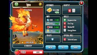 Monster Legends -Scorchpeg lvl up from 1 to  90