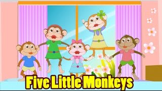 getlinkyoutube.com-Five Little Monkeys Jumping On The Bed with Lyrics - Kids Songs Nursery Rhymes by EFlashApps