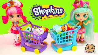 getlinkyoutube.com-Unboxing Shopkins Season 4 & 2 at Small Mart Shopping with Shoppies Peppa Mint + Donatina