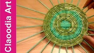 getlinkyoutube.com-Jak wypleść okrągłe dno do koszyka z papierowej wikliny? #2 (round bottom, wicker paper)