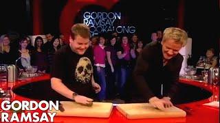 getlinkyoutube.com-James Corden Tells Gordon Jamie Oliver Taught Him To Cook - Gordon Ramsay