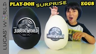 getlinkyoutube.com-2 GIANT Jurassic World Play-Doh Surprise Eggs with Surprise Toys and Review