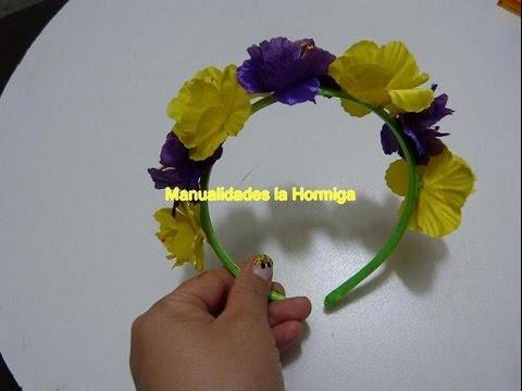 diadema forrada decorada flores artificales.how to make an artificial wreath