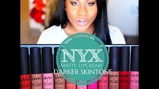 getlinkyoutube.com-NYX MATTE LIPCREAM||Brown Skin