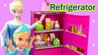 getlinkyoutube.com-Barbie Disney Frozen Queen Toddler Elsa Glam Refrigerator DreamHouse Unboxing Shopkins