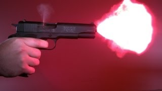 getlinkyoutube.com-Munitionstest COLT 1911 9mm P.A.K. Partizan, Walther, GECO Flash Stopblitz in Zeitlupe Slow motion