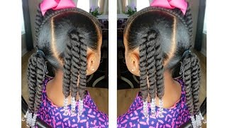 getlinkyoutube.com-Rope Twist Ponytails w/Beads Tutorial  | Kids Natural Hairstyle | IAMAWOG