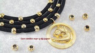 getlinkyoutube.com-Como hacer un collar cuero negro y dije jaguar (ENGLISH CC)