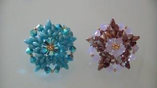 """getlinkyoutube.com-Tutorial Perline: Anello """"Cristell"""", realizzato con perline rocaille, superduo e swarovski"""