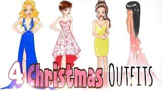 🎄HOW TO DRAW 4 CHRISTMAS OUTFITS👗