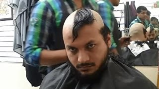 getlinkyoutube.com-Head Shaving Time Lapse Before & After Long Hair Straight Razor SYED