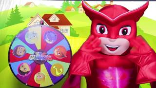 getlinkyoutube.com-PJ Masks Game with Owlette - Surprise Toys from Paw Patrol, Spiderman, Peppa Pig Spin the Wheel