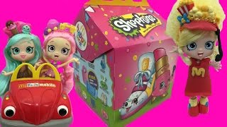 getlinkyoutube.com-Shopkins Happy Places Mcdonalds Happy Meal Toys Shoppies Poppette Bubbleishia Peppa Mint