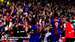 Lionel Messi - First Hattrick vs Real Madrid 720HD (10 Mar 2007) width=