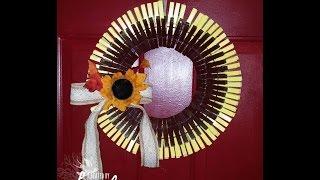 getlinkyoutube.com-Clothes pin Sunflower wreath plus bonus share