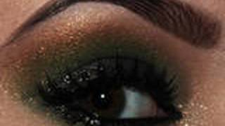 getlinkyoutube.com-Holiday Makeup Series : Green & Gold Smokey Eyes