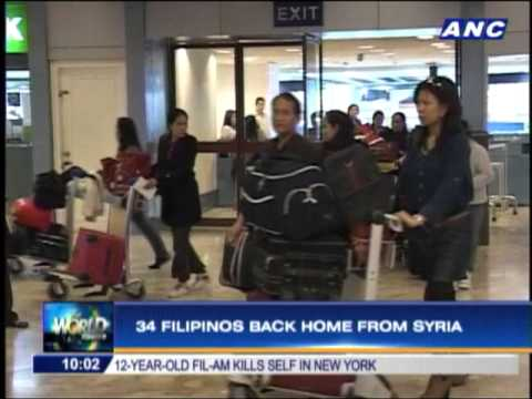 34 Filipinos back home from Syria