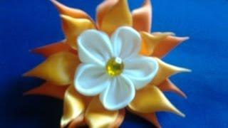 getlinkyoutube.com-Flor de cetim para o cabelo/ coletero con flor para el pelo