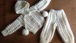getlinkyoutube.com-Белый костюмчик для новорожденного. knitted suit for newborn baby