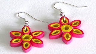getlinkyoutube.com-Paper Ear Ring Making Techniques | Rose & Yellow Color Flower Style
